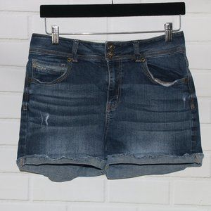 Maurices Sz 7/8 Blue High Rise Cuffed Denim Shorts